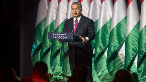 BUDAPEST, HUNGARY - FEBRUARY 10: Prime Minister of Hungary Viktor Orban delivers a speech on general agenda and refugee crisis during an annual review meeting in Budapest, Hungary on February 10, 2017. Hungarian Prime Ministry Press Office / Anadolu Agency