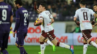 FLORENCE, ITALY - FEBRUARY 27 : Andrea Belotti (9) of Torino FC celebrates after scoring a goal during Italian Serie A soccer match between ACF Fiorentina and Torino FC at Stadio Artemio Franchi in Florence, Italy on February  27, 2017. Carlo Bressan / Anadolu Agency