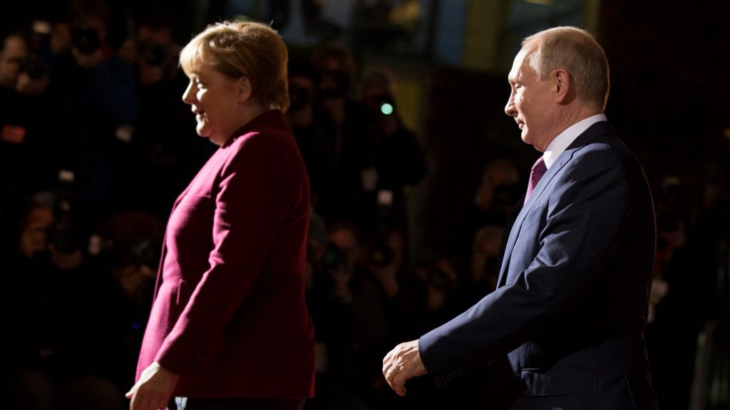 German Chancellor Angela Merkel and Russian President Vladimir Putin are pictured at the Chancellery in Berlin, Germany on October 19, 2016. German Chancellor Angela Merkel is meeting in the Normandy format with French President Francois Hollande, Russian President Vladimir Putin and Ukrainian President Petro Poroshenko to discuss security in Ukraine and in Syria (Photo by Emmanuele Contini/NurPhoto)