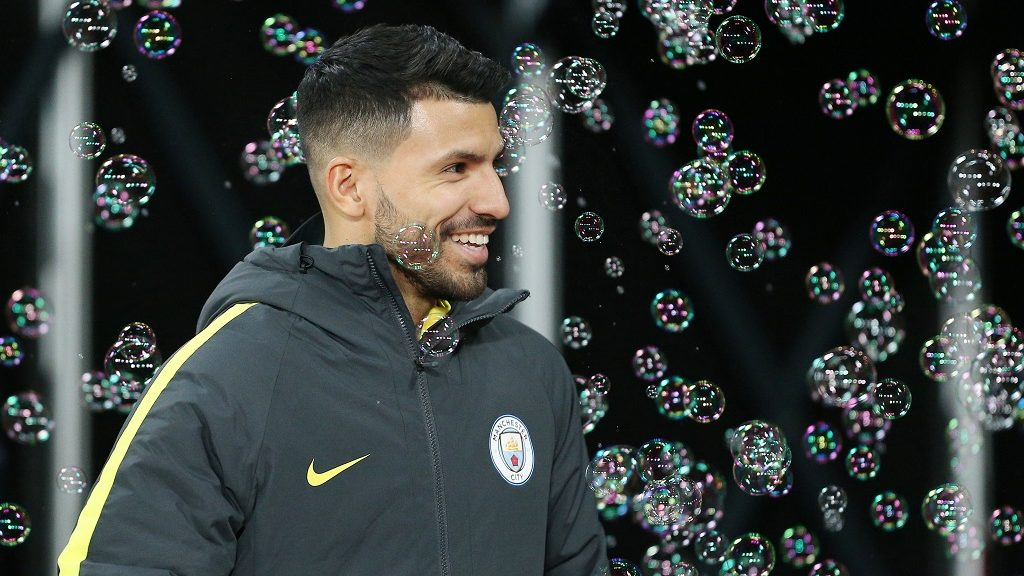 Sergio Aguero of Manchester City in the bubbles during the English championship Premier League football match between West Ham United and Manchester City on February 1, 2017 played at The London Stadium in London, Great Britain - Photo Michael Zemanek / Backpage Images / DPPI