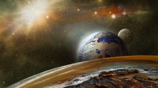 view from another planet in outer space and distant planets