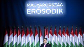 Budapest, 2017. február 10. Orbán Viktor miniszterelnök hagyományos évértékelõ beszédét tartja a Várkert Bazárban 2017. február 10-én. MTI Fotó: Koszticsák Szilárd