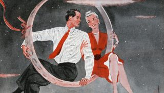 Vintage illustration of a happy newlywed couple sitting in a huge wedding ring, set against a starry night sky and a city skyline, 1945. Screen print. (Illustration by GraphicaArtis/Getty Images)