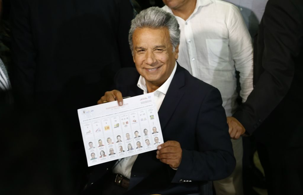 QUITO, ECUADOR - FEBRUARY 19: The Ecuadorean presidential candidate of the Alianza PAIS party, Lenin Moreno votes at a polling station in Quito on February 19, 2017 during general election. Ecuador's elections will decide who succeeds leftist President Rafael Correa after a decade in power. (Photo by Jonatan Rosas /Anadolu Agency/Getty Images)