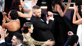 HOLLYWOOD, CA - FEBRUARY 26:  Singer/actor Justin Timberlake (C) performs with actor Jessica Biel onstage during the 89th Annual Academy Awards at Hollywood & Highland Center on February 26, 2017 in Hollywood, California.  (Photo by Kevin Winter/Getty Images)