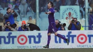 FLORENCE, ITALY - JANUARY 29: Nikola Kalinic (9) of Acf Fiorentina celebrates after scoring a goal during Italian Serie A soccer match between ACF Fiorentina and Genoa FC at Stadio Artemio Franchi in Florence, Italy on January 29, 2017. Carlo Bressan / Anadolu Agency