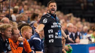 Flensburg's coach Ljubomir Vranjes reacts during the Champions League handball match between SG Flensburg-Handewitt and Telekom Veszprem in the Flens Arena in Flensburg, Germany, 24 September 2016. Photo: BENJAMIN NOLTE/dpa