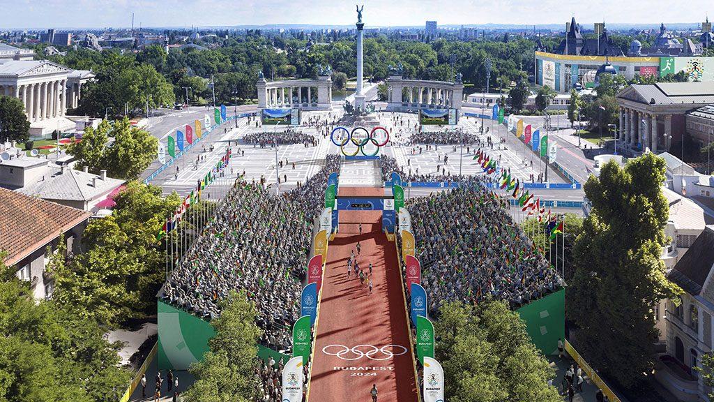 Budapest, 2017. január 4. A Budapest 2024 által 2017. január 4-én közölt legfrissebb aktuális látványterv a Hősök teréről, az esetleges 2024-es budapesti olimpia országúti kerékpárversenyeinek, a gyaloglásnak és a maratonfutásnak a rajt-cél helyszínéről. A látványtervet a Brick Visual, az építési terveket a BORD Építész Stúdió készítette. A 2024-es olimpia rendezési jogáért a magyar főváros Los Angelesszel és Párizzsal verseng, a Nemzetközi Olimpiai Bizottság (NOB) szeptember 13-án, Limában dönt a helyszínről.MTI Fotó: -