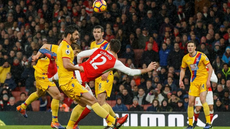 Olivier Giroud of Arsenal scores a goal to make it 1-0 during the Premier League match between Arsenal and Crystal Palace played at The Emirates Stadium, London, on January 1st, 2017 - Photo Ben Queenborough / Backpage Images / DPPI