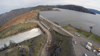 OROVILLE, CALIFORNIA - FEBRUARY 13: A general view of the Oroville dam, the tallest dam in the United States, as water levels have begun to decline, halting an overflow that threatened to destroy the dam's emergency spillway in Oroville, California on February 13, 2017. On Sunday night, California Gov. Edmund Brown issued an emergency order aimed at bolstering the state's response to the potential calamity as roughly 180,000 residents fled their homes.