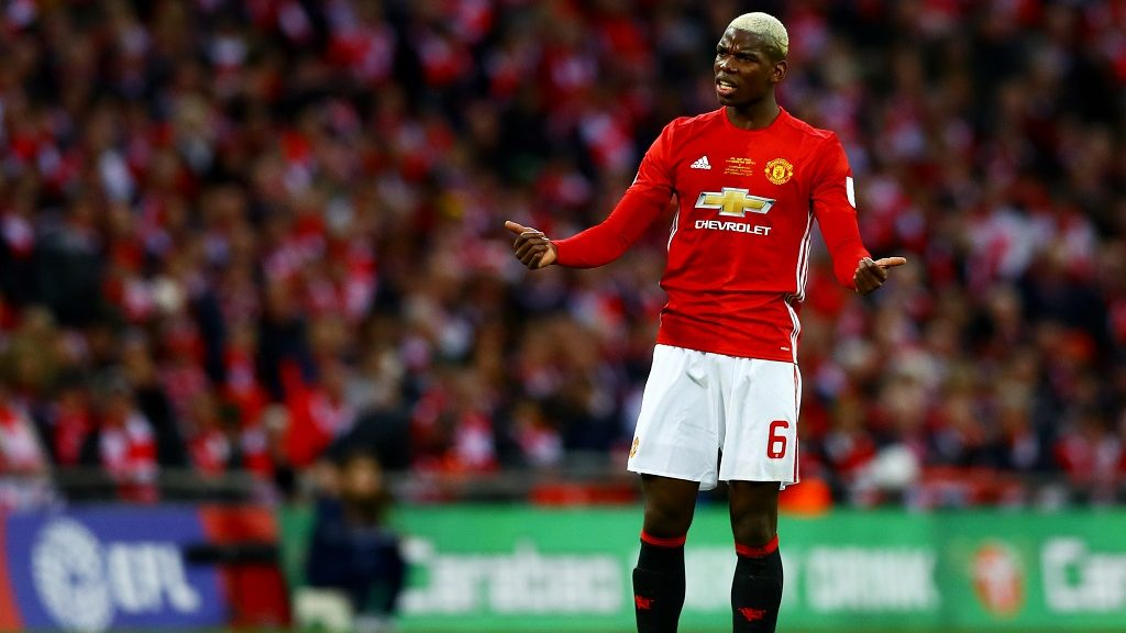Paul Pogba of Manchester United gestures during the English League EFL Cup, Final football match between Manchester United and Southampton on February 26, 2017 played at Wembley Stadium in London, Great Britain - Photo Kieran McManus / Backpage Images / DPPI