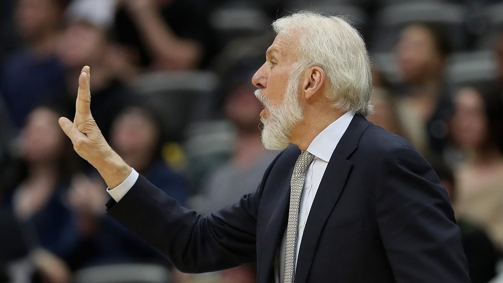 DENVER, CO - JANUARY 05: Head coach Gregg Popovich of the San Antonio Spurs watches from the sidelines as his team plays the Denver Nuggets at the Pepsi Center on January 5, 2017 in Denver, Colorado. NOTE TO USER: User expressly acknowledges and agrees that , by downloading and or using this photograph, User is consenting to the terms and conditions of the Getty Images License Agreement.   Matthew Stockman/Getty Images/AFP