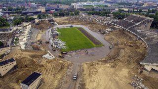 Budapest, 2016. május 10.Drónfelvétel a budapesti Puskás Ferenc Stadion bontási munkálatairól 2016. május 10-én. A tervek szerint több hónapig tart az 1953-ban átadott stadion bontása. Az új aréna építése decemberben kezdődhet el és 2019-ben fejeződik be.MTI Fotó: Ruzsa István