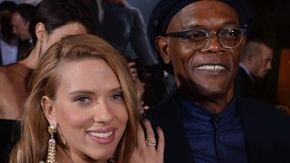 "HOLLYWOOD, CA - MARCH 13: Actors Scarlett Johansson and Samuel L. Jackson attend the premiere of Marvel's ""Captain America: The Winter Soldier"" at the El Capitan Theatre on March 13, 2014 in Hollywood, California.  (Photo by Kevin Winter/Getty Images)"