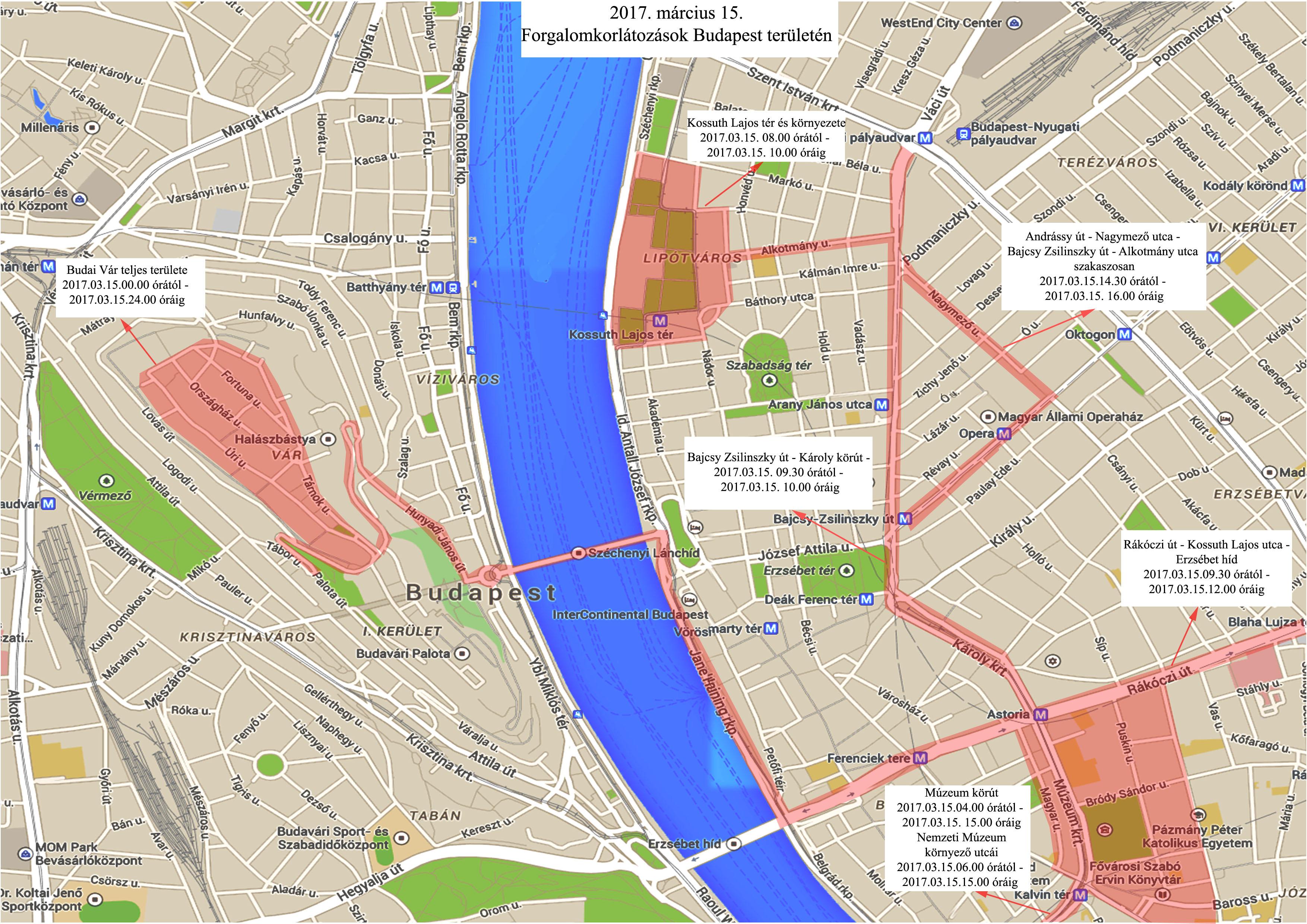 budapest térkép blaha lujza tér Március 15 ei lezárások: itt a térkép és a lista | 24.hu budapest térkép blaha lujza tér