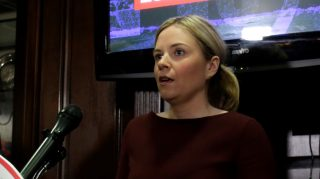 National Republican Committee Chief of Staff Katie Walsh (C) speaks at the Republican National Committee (RNC) in Washington, DC, following a Trump victory on November 9, 2016. / AFP PHOTO / YURI GRIPAS