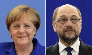 (COMBO) This combination of file pictures created on February 24, 2017 shows German Chancellor Angela Merkel (L, July 28, 2016 in Berlin) and the German social democratic SPD party's candidate for chancellorship Martin Schulz (January 16, 2017 in Strasbourg). US President Donald Trump's demand for NATO allies to boost defence spending is driving an election-year dispute between Chancellor Angela Merkel's conservatives and their centre-left challengers led by Martin Schulz. / AFP PHOTO / Tobias SCHWARZ AND Frederick FLORIN