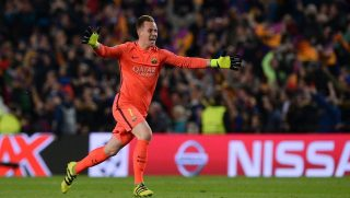 Barcelona's German goalkeeper Marc-Andre Ter Stegen celebrates their victory goal during the UEFA Champions League round of 16 second leg football match FC Barcelona vs Paris Saint-Germain FC at the Camp Nou stadium in Barcelona on March 8, 2017. / AFP PHOTO / Josep Lago