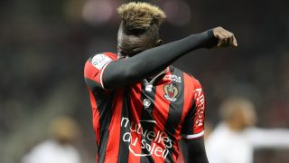 Nice's Italian forward Mario Balotelli reacts  during the French L1 football match Nice (OGCN) vs Caen (SMC) on March 10, 2017 at the Allianz Riviera stadium in Nice, southeastern France. / AFP PHOTO / VALERY HACHE