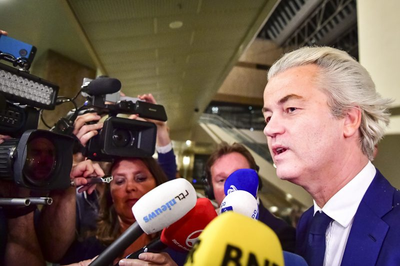 PVV leader Geert Wilders speaks to the press on election night in The Hague, on March 15, 2017.  The Liberal party of Dutch Prime Minister Mark Rutte was set to win the most seats in Wednesday's elections, forcing far-right Geert Wilders into second place along with two other parties,  the Christian Democratic Appeal and the Democracy party D66, exit polls predicted. / AFP PHOTO / ANP / Robin Utrecht / Netherlands OUT - Belgium OUT