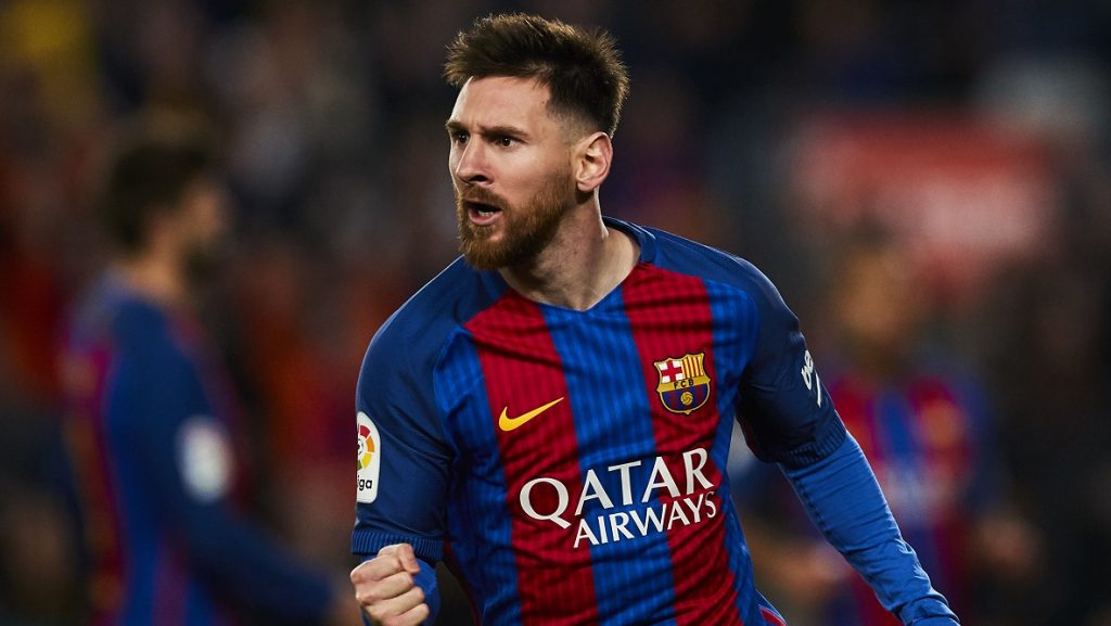 Lionel Messi (FC Barcelona) celebrates after scoring, during La Liga football match between FC Barcelona and Valencia CF, at the Camp Nou stadium in Barcelona, Spain, Sunday March 19, 2017. Foto: S.Lau
