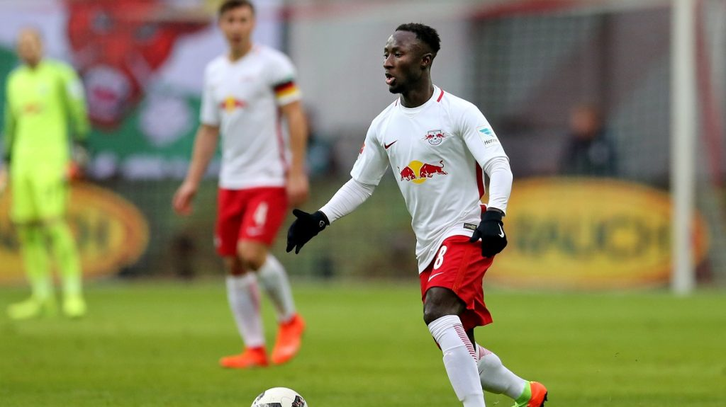 Leipzig's Naby Deco Keita during the German Bundesliga soccer match between RB Leipzig and Hamburger SV in the Red Bull Arena in Leipzig,Germany, 11 Febrary 2017. Photo: Jan Woitas/dpa-Zentralbild/dpa