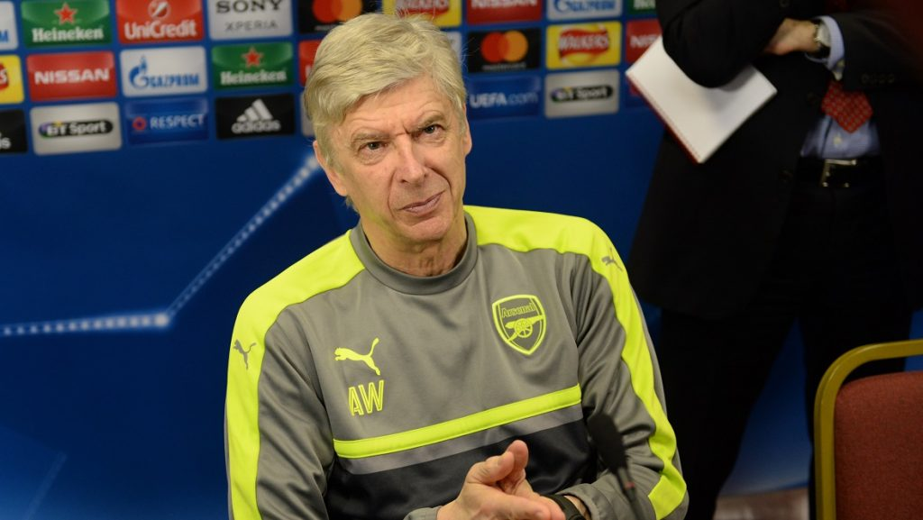 Arsenal's coach Arsene Wenger speaks to journalists after the final pre-match press conference of Arsenal F.C. in Colney near London, England, 06 March 2017. Arsenal will face FC Bayern Munich in a UEFAChampions League round of 16 second-leg soccer match on 07 March 2017. Photo: Andreas Gebert/dpa
