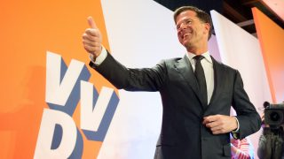 Current Dutch Prime Minister and election winner Mark Rutte on stage at the election party of his conservative-liberal party VVD (Volkspartij voor Vrijheid en Demcratie, lit. 'People's Party for Freedom and Democracy') in The Hague, Netherlands, 15 March 2017. The Netherlands elected a new parliament on Wednesday. Around 13 million people were eligible to vote. Photo: Daniel Reinhardt/dpa