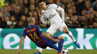 Barcelona's Argentinian defender Javier Mascherano tackles Paris Saint-Germain's Argentinian forward Angel Di Maria during the UEFA Champions League football match between FC Barcelona and Paris Saint-Germain on March 8, 2017 at the Camp Nou stadium in Barcelona, Spain - Photo Benjamin Cremel / DPPI