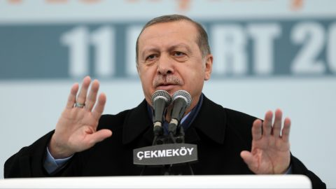 ISTANBUL, TURKEY - MARCH 11 : Turkish President Recep Tayyip Erdogan addresses to the crowd during a mass opening ceremony at the Cekmekoy Tasdelen Square in Istanbul, Turkey on March 11, 2017. Sebnem Coskun / Anadolu Agency
