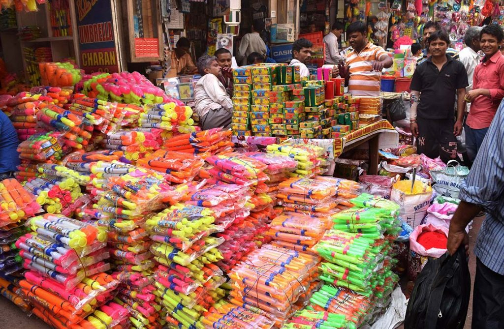 Street vendors in Kolkata  Market selling colours for upcoming Holi festival celebrations on March 06,2017,Holi is a Hindu spring festival in India and Nepal, also known as the  festival of colours or the festival of love.  (Photo by Debajyoti Chakraborty/NurPhoto)