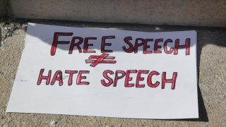 Sign saying 'Free Speech Does Not Equal Hate Speech' during a counter-protest against anti-Muslim groups over the M-103 motion to fight Islamophobia in downtown Toronto, Ontario, Canada, on March 04, 2017. Canadians across the country staged similar during pro-Muslim and anti-Muslim demonstrations against Islam, Muslims, Sharia Law and M-103. M-103 is a private members motion put forth by Liberal MP Iqra Khalid that asks the government to 'recognize the need to quell the increasing public climate of hate and fear' and condemn Islamophobia, as well as all other kinds of 'systemic racism and religious discrimination.' (Photo by Creative Touch Imaging Ltd./NurPhoto)
