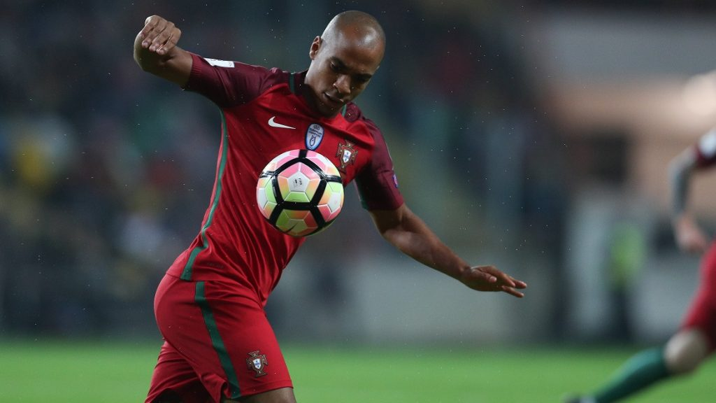 Joao Mario of Portugal in action during the 2018 FIFA World Cup Qualifiers matches between Portugal and Andorra in Municipal de Aveiro Stadium on October 7, 2016 in Aveiro, Portugal. (Photo by Paulo Oliveira / DPI / NurPhoto)