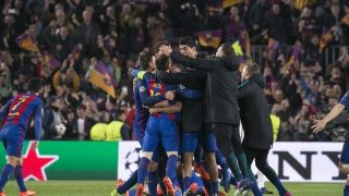 FC Barcelona players celebration at the end of the match UEFA Champions League between F.C. Barcelona v PSG, in Barcelona, on march 08, 2017.  (Photo by Urbanandsport/NurPhoto)