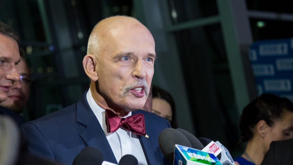 Janusz Korwin-Mikke, leader of KORWiN party after the TV debate of all Polish party leaders in TVP studio on October 20, 2015 in Warsaw, Poland. Parliamentary elections in Poland will take place on October 25, with current opposition party, the conservative Law and Justice leading in polls. (Photo by Mateusz Wlodarczyk/NurPhoto)