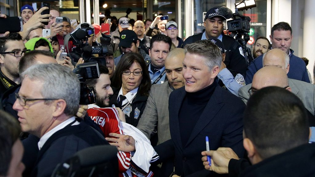 German soccer player Bastian Schweinsteiger in O'Hare Airport shortly after touching down in Chicago, USA, 28 March 2017. The German midfielder transferred from the Premier League club Manchester United to MLS outfit Chicago Fire on a one year contract. Photo: Ting Shen/dpa