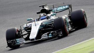 Mercedes AMG Petronas F1 Team's Finnish driver Valtteri Bottas drives at the Circuit de Catalunya on March 1, 2017 in Montmelo on the outskirts of Barcelona during the third day of the first week of tests for the Formula One Grand Prix season.  / AFP PHOTO / JOSE JORDAN