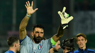 Italy's goalkeeper Gianluigi Buffon greets fans at the end of the FIFA World Cup 2018 qualification football match between Italy and Albania on March 24, 2017 at Renzo Barbera stadium in Palermo. Italy won 2-0. Gianluigi Buffon made his 1,000th career appearance today against Albania. The 39-year-old Juventus stopper made his professional debut in 1995 as a 17-year-old in goal for Parma and has gone on to become a football icon at home and abroad.  / AFP PHOTO / ALBERTO PIZZOLI