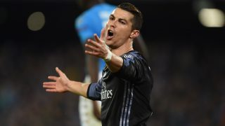 Real Madrid's Portuguese forward Cristiano Ronaldo reacts during the UEFA Champions League football match SSC Napoli vs Real Madrid on March 7, 2017 at the San Paolo stadium in Naples. / AFP PHOTO / Filippo MONTEFORTE