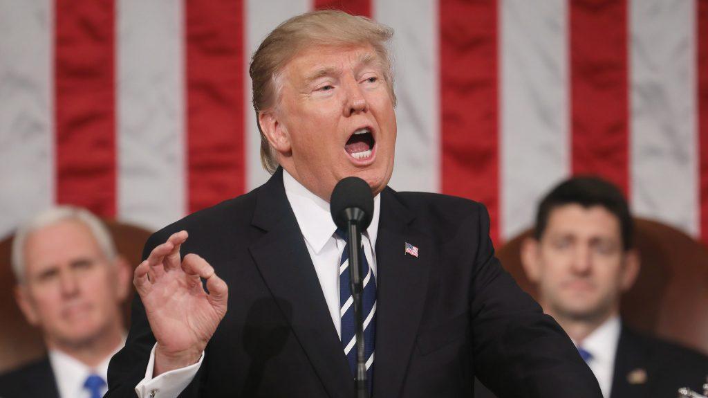 Washington, 2017. március 1. Donald Trump amerikai elnök beszédet mond a kongresszus két háza elõtt Washingtonban 2017. február 28-án. (MTI/EPA/Jim Lo Scalzo)