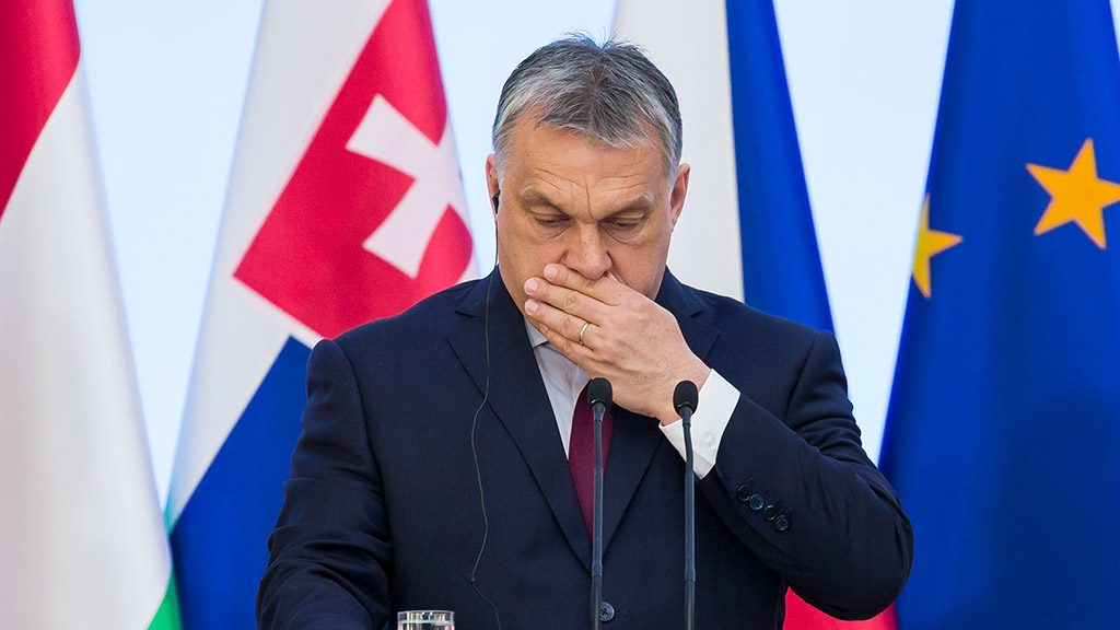 Hungary Prime Minister Viktor Orban during the Visegrad Group meeting in Warsaw, Poland on 28 March 2017 (Photo by Mateusz Wlodarczyk/NurPhoto)