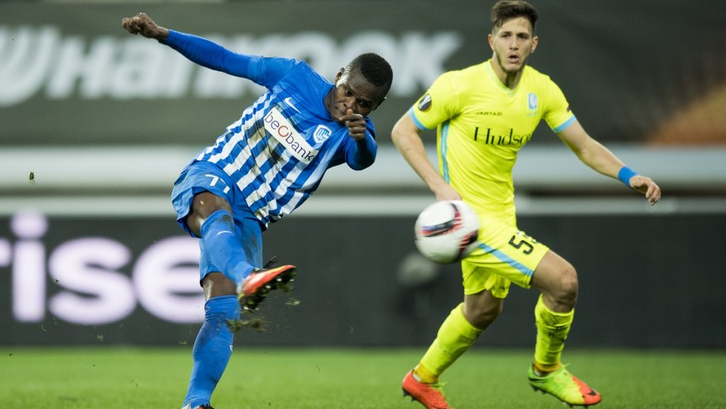 Genk's Mwbana Ally Samatta scores a goal during a soccer game between Belgian teams KAA Gent and KRC Genk, Thursday 09 March 2017 in Gent, the first leg of the 1/8 finals of the Europa League competition. BELGA PHOTO JASPER JACOBS