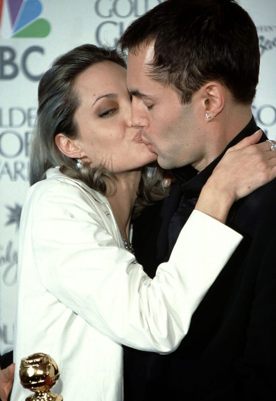 LOS ANGELES, CA - JANUARY 23:  Actress Angelina Jolie kisses her brother James Haven during 57th Annual Golden Globe Awards - Press Room at the Beverly Hilton Hotel on January 23, 2000 in Los Angeles, California.  (Photo by Ron Davis/Getty Images)