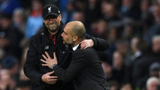 Liverpool's German manager Jurgen Klopp (L) greets Manchester City's Spanish manager Pep Guardiola after the English Premier League football match between Manchester City and Liverpool at the Etihad Stadium in Manchester, north west England, on March 19, 2017. / AFP PHOTO / Paul ELLIS / RESTRICTED TO EDITORIAL USE. No use with unauthorized audio, video, data, fixture lists, club/league logos or 'live' services. Online in-match use limited to 75 images, no video emulation. No use in betting, games or single club/league/player publications.  /
