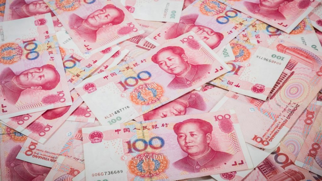 closeup 100 Yuan, Chinese money is background