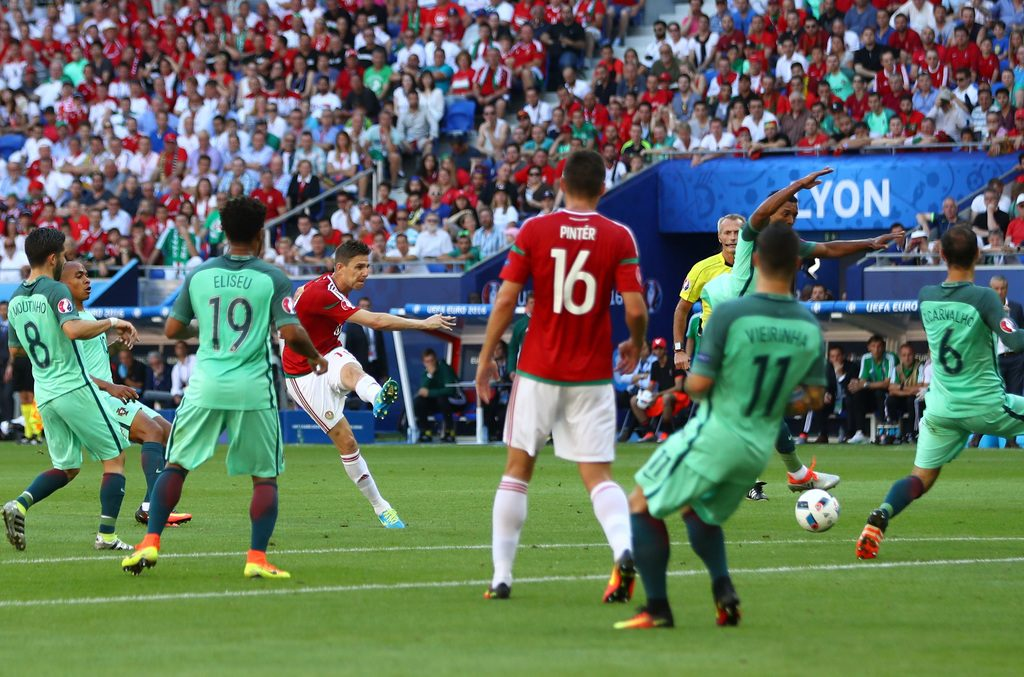 during the UEFA EURO 2016 Group F match between Hungary and Portugal at Stade des Lumieres on June 22, 2016 in Lyon, France.
