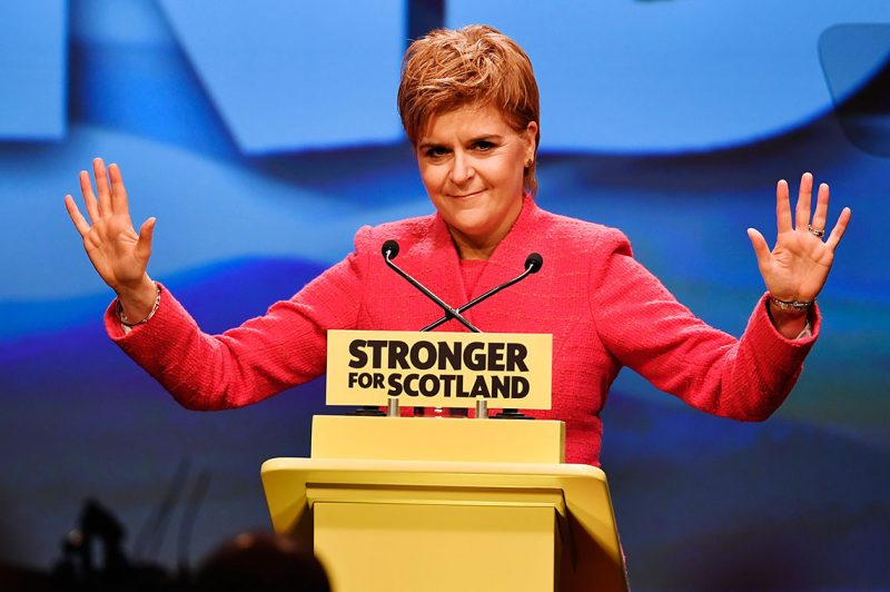 ABERDEEN, SCOTLAND - MARCH 18:  Scottish First Minister Nicola Sturgeon delivers her keynote speech at the SNP spring conference on March 18, 2017 in Aberdeeen, Scotland. Party members and delegates are focusing on a second Scottish independence referendum as the party meets for its spring conference in Aberdeen.  (Photo by Jeff J Mitchell/Getty Images)