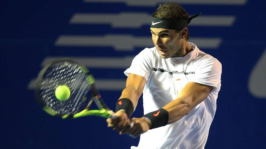 ACAPULCO, MEXICO - MARCH 03: Rafael Nadal of Spain returns the ball during the match between Rafael Nadal (SPA) and Marin Cilic (CRO) as part of the Mexican Open 2017 at the Fairmont Acapulco Princess in Acapulco, Mexico on March 03, 2017. Stringer / Anadolu Agency