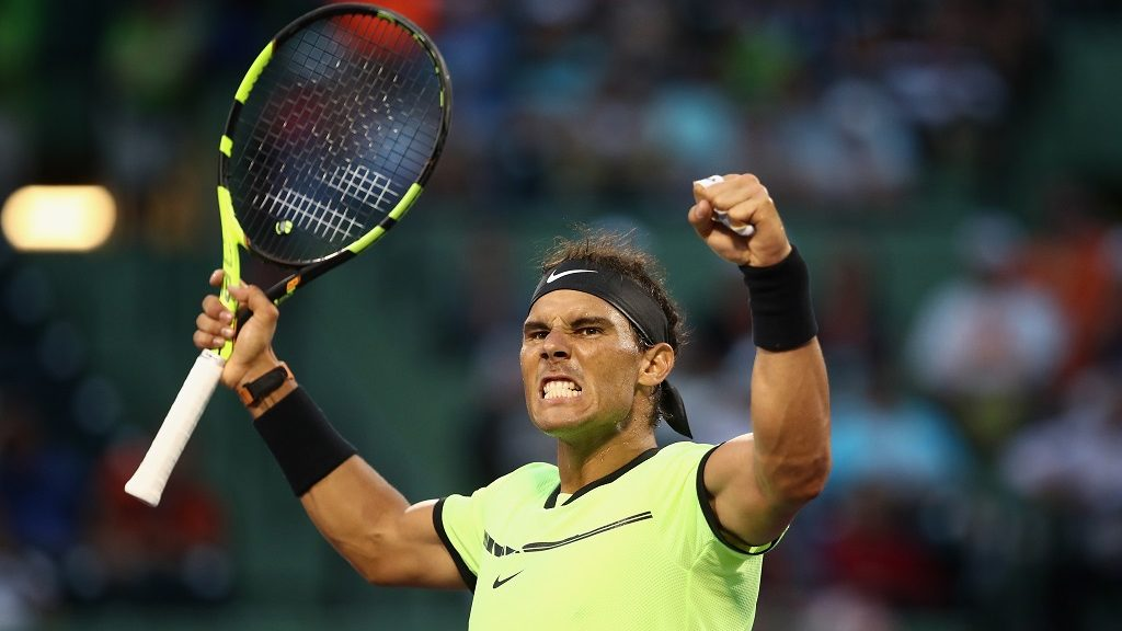 KEY BISCAYNE, FL - MARCH 26: Rafael Nadal of Spain celebrates defeating Philipp Kohlschreiber of Germany at Crandon Park Tennis Center on March 26, 2017 in Key Biscayne, Florida.   Julian Finney/Getty Images/AFP