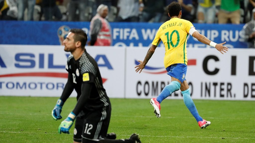 SAO PAULO, BRAZIL - MARCH 28:  Neymar Jr. of Brazil celebrates after scoring a goal against Paraguay during the 2018 FIFA World Cup Qualifying group match between Brazil and Paraguay at Arena Corinthians Stadium on March 28, 2017 in Sao Paulo, Brazil. Leonardo Benassatto / Anadolu Agency